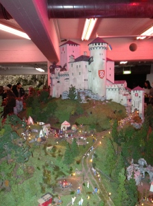 A miniature German castle and village.